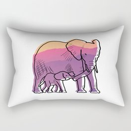 Elephant Mother And Baby Rectangular Pillow