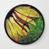 fleur de lis Wall Clocks featuring Sunflower Fleur De Lis by minx267