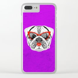 Lady Pug Clear iPhone Case