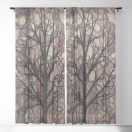 Contemporary Wine Teal Green Autumn Tree Sheer Curtain