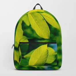 Fresh Green Tree Leaves In Summer, Tree Leaf, Intense Vivid Green, Nature In Summer, Environment Backpack
