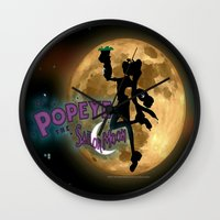 popeye Wall Clocks featuring POPEYE THE SAILOR MOON - 001 by Lazy Bones Studios