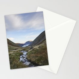 Fog formed in the valley at sunrise. Kirkstone Pass, Cumbria, UK. Stationery Cards