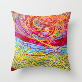 African American Masterpiece 'String Theory - Hot Pink' by Mildred Thompson Throw Pillow