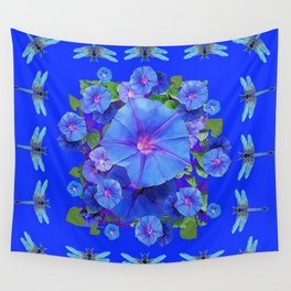 BLUE MORNING GLORIES DRAGONFLIES ART Wall Tapestry
