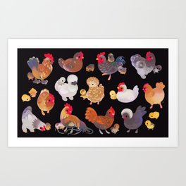Chicken and Chick - dark Art Print