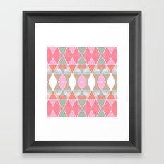 Art Deco Triangles Coral Grey Framed Art Print
