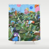 giants Shower Curtains featuring Sleeping Giants by Valeriya Volkova