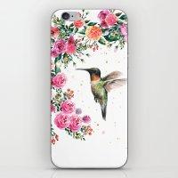 Hummingbird and Flowers Watercolor Animals iPhone & iPod Skin