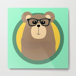 Nerd Brown Bear with cirlce Metal Print