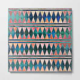 Decorative Multi-color Diamond Pattern Design Metal Print