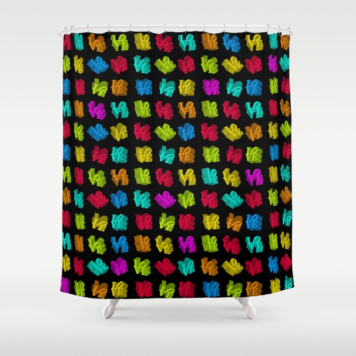 LOVE 3D Icon On Black L O V E Shower Curtain By Frostbytegraphics