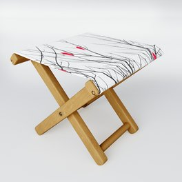 Artistic Bright Red Birds on Tree Branches Folding Stool