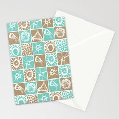 Microscopic Life Sillouetts Blue and Taupe Stationery Cards