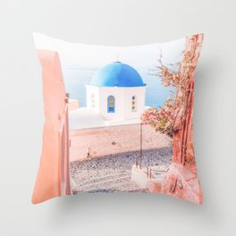 Santorini Greece Mamma Mia pink travel photography in hd. Throw Pillow