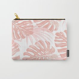 Blush Tropical Leaves Carry-All Pouch