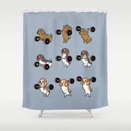 Olympic Lifting Beagles Shower Curtain