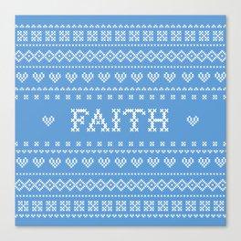 FAITH faux cross stitch sampler on light blue Canvas Print