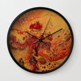 Abstract Fluid Acrylic Painting Golden Wall Clock