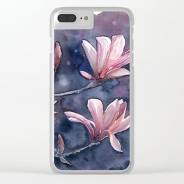 Winter Magnolia, watercolor artwork Clear iPhone Case
