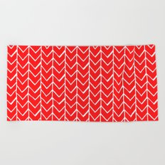 Herringbone Red Beach Towel
