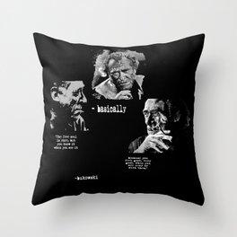 BUKOWSKI collage - The FREE SOUL quote Throw Pillow
