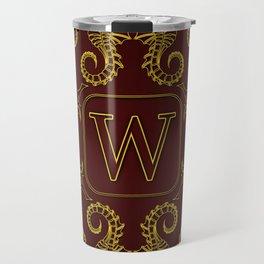 Letter W seahorse monogram Travel Mug