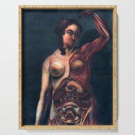 Anatomy art PREGNANT WOMAN DISSECTION dark art, gothic home decor gothic decor, gothic wall decor Serving Tray