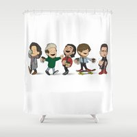 1d Shower Curtains featuring Schulz 1D Coffee Run by Ashley R. Guillory