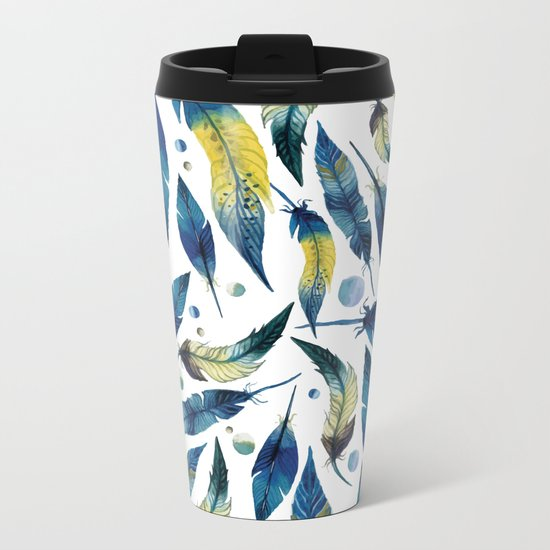 Falling Feathers Metal Travel Mug