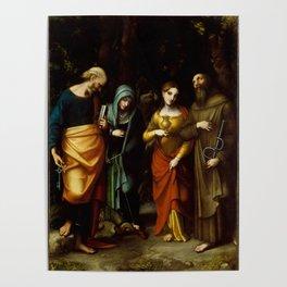 "Antonio Allegri da Correggio ""Saints Peter, Martha, Mary Magdalen, and Leonard"" Poster"