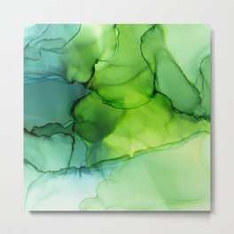 Spring Greens Abstract Landscape Metal Print