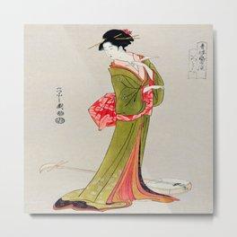 A Geisha in Green Metal Print