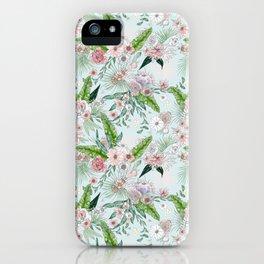 Tropical Flower Lt Blue iPhone Case
