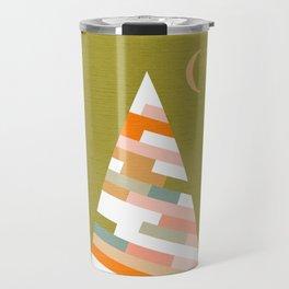 Retro Christmas Tree on Green Travel Mug