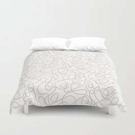 Doodle Line Art | Warm Gray/Beige Lines on White Background Duvet Cover
