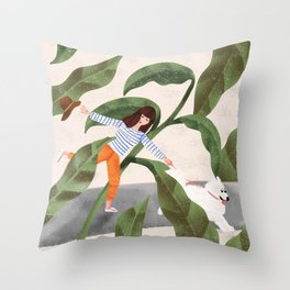 Going On A Walk Throw Pillow