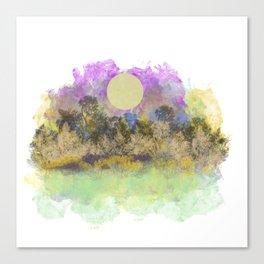 Pale Yellow Moon Landscape Canvas Print