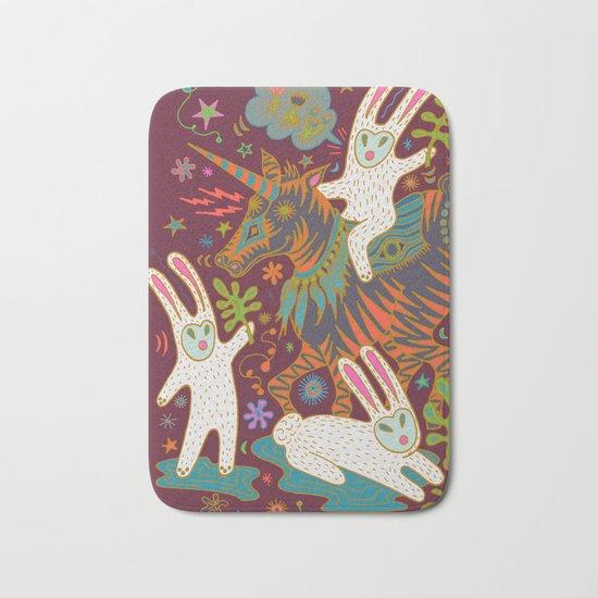 Three Rabbits and a Unicorn Bath Mat