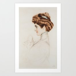 PAUL CESAR HELLEU (FRENCH 1859-1927) The Coquette Art Print