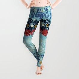 lotus block blue Leggings