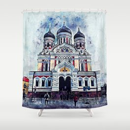 Alexander Nevsky Cathedral Tallinn Shower Curtain