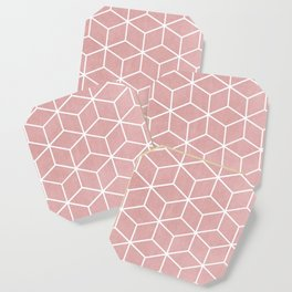 Blush Pink and White - Geometric Textured Cube Design Coaster