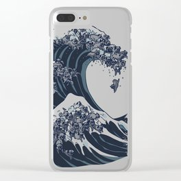 The Great Wave of Black Pug Clear iPhone Case