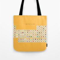 periodic table Tote Bags featuring Periodic table of the elements by AnneKarine