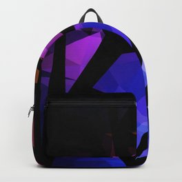 Abstract print of triangles polygon print. Bright dark design colors Backpack