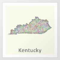 kentucky Art Prints featuring Kentucky map by David Zydd