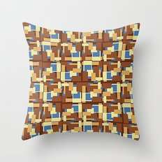 Blue Earth Patch Pattern Throw Pillow