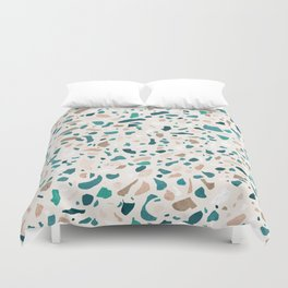 Terrazzo Turquoise Pattern Duvet Cover