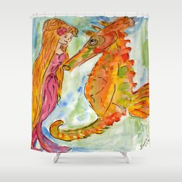 Sarah Mermaid and Kenneth Seahorse Shower Curtain